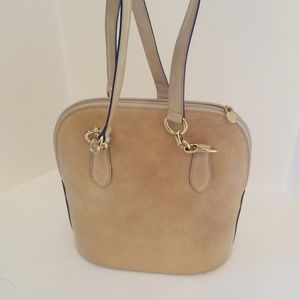 Leather beige  Saks shoulder bag